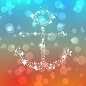 picture of starry  - Starry anchor ornament on colored background with bokeh - JPG