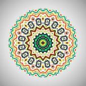 stock photo of aztec  - Ornamental round geometric pattern in aztec style - JPG