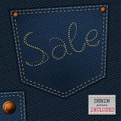 picture of denim jeans  - The illustration of  beautiful jeans sale element on a textured background - JPG