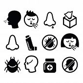 pic of sneezing  - vector icons set of sneezing - JPG