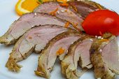 picture of roast duck  - Roasted duck breast with orange and sesame seeds