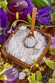 picture of salt-bowl  - salt bath in wooden bowl with flowers and leaves in background - JPG
