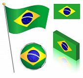 pic of flag pole  - Brazilian Brazil flag on a pole badge and isometric designs vector illustration - JPG