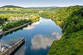 foto of dam  - view from the dam on the river San in Solina Poland - JPG