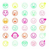 image of angry smiley  - Color set of vector icons with smiley faces on white background - JPG