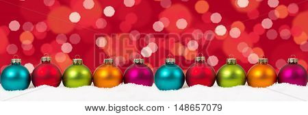 Christmas Colorful Balls Banner Decoration Lights Background Copyspace Copy Space