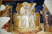 Madonna And Child Between Saints Gregory And Gimignano Fresco By Taddeo Di Bartolo Early 1400S San G
