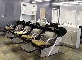 pic of beauty salon interior  - The hair wash area of an upscale beauty salon - JPG