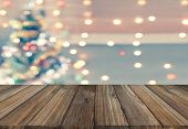 Wood Plank With Sparkle Bokeh Christmas Theme In Vintage Tone. It Glittering And Bright. You Can App poster