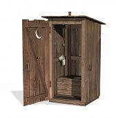 foto of outhouse  - 3D render of an outhouse isolated on white - JPG