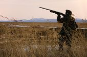 image of hunt-shotgun  - hunter with rifle at spring hunting season - JPG