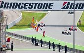 BARCELONA- MAY 9: Racing cars on a circuit during The Formula 1 Grand Prix at autodrome