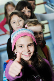 picture of children group  - happy children group in school have fun and representing education  and teamwork concept - JPG