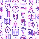 Measuring Seamless Pattern With Thin Line Icons: Stopwatch, Weight Scales, Speedometer, Smart Watch, poster