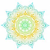 Mandala Vector Design Element. Round Ornament Decoration. Colorful Flower Pattern. Stylized Floral M poster
