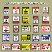 Set Of Private Property No Trespassing Warning Sign For Signboard Or Label. Vector Illustration poster