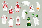 Set Of White Polar Bears, In Festive Headdresses, Accessories. poster