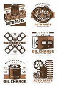 Car Service Retro Icon Of Motor Oil Change Shop, Auto Parts Store And Auto Repair Station Emblem Des poster