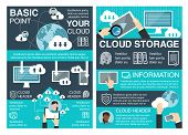 Cloud Storage Concept Banner Set Of Cloud Computing Information Technology. Digital Devices Of Compu poster