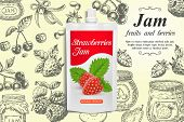 Strawberry Jam Ads. Vector Realistic Strawberry Jam Doypack Plastic Bag And Hand Drawn Fresh Strawbe poster