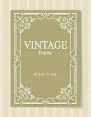 Vintage Frame Retro Style Decorative Border With Corners, Leaves And Curved Elements In Olive And Wh poster