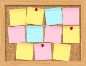 Note Paper On Cork Board. Bulletin Board. Cork Board With Notes poster
