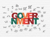 Political Concept: Painted Multicolor Text Government On White Brick Wall Background With  Hand Draw poster
