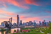 Chicago, Illinois, USA park and downtown skyline at twilight. poster