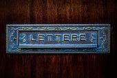 Vintage Italian Metal Mailbox In Wooden Door, Text Lettere poster
