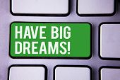 Handwriting Text Writing Have Big Dreams Motivational Call. Concept Meaning Future Ambition Desire M poster