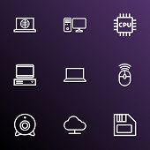 Hardware Icons Line Style Set With Internet, Notebook, Pc And Other Pc  Elements. Isolated Vector Il poster