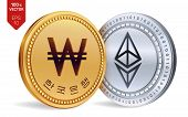 Ethereum. Won. 3d Isometric Physical Coins. Digital Currency. Korea Won Coin. Cryptocurrency. Golden poster