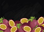 Passion Fruit On Chalkboard Background. Passion Fruit Composition, Plants And Leaves. Organic Food.  poster