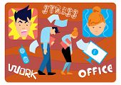 Office Stress, Hard Work. Work In Stress, Overworked People. Depression At Work. Stressed People. An poster