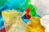 Pile Of Colorful Plastic Bags, Consumerism And Environmental Pollution Concept poster