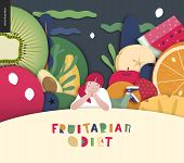 Fruitarian Food Diet- Flat Vector Concept Illustration, Composition Of A Healthy Fruit Diet, Young G poster