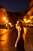 Night City With Princess In Celebrity Style. Fashion And Beauty Of Business Lady. Girl With Glamour  poster