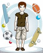 Cute Happy Young Teen Boy Posing Wearing Fashionable Casual Clothes. Vector Pretty Nice Human Illust poster