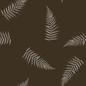 Seamless Stylized Scratched White Fern Leaves Pattern Texture Element poster
