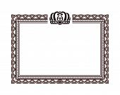 Vintage Rectangular Frame With Crown Logo On Top. Elegant Framework For Documents And Certificates W poster