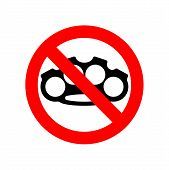Stop Brass Knuckle. No Weapon Robber. Red Prohibitory Sign. Ban Danger Burglar Vector Illustration poster