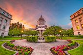 Olympia, Washington, USA state capitol building at dusk.  poster