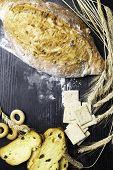 Wholegrain Bread From Whole Wheat, Rye And Flax Seeds, Wheat And Whole Wheat Biscuits With Raisin An poster