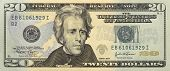 stock photo of twenty dollars  - front view of a twenty dollar bank note - JPG