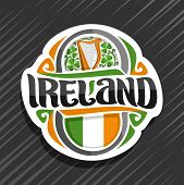 Vector Logo For Ireland Country, Fridge Magnet With Irish Flag, Original Brush Typeface For Word Ire poster