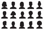 Profile Icons Silhouettes. Anonymous People Face Silhouette, Woman And Man Head Avatar Profile Icon  poster
