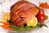Easter Ham With Carrots, Herbs And Fruit