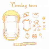 Illustration Of Baby Items With Text Coming Soon. Baby Items For Logo: Stroller, Babygro, Baby-bib,  poster