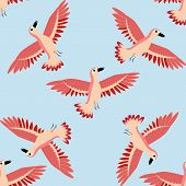 Bird Pattern. Seamless Texture Of Birds. Red Bird Pattern. Isolated On A Blue Background. poster