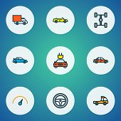 Automobile Icons Colored Line Set With Sport, Sedan, Cabriolet And Other Rudder Elements. Isolated V poster
